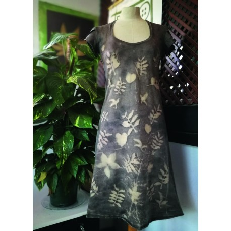 A-line ecoprint dress